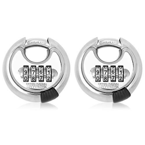 TUFF4EVER Combination Padlock 4-Digit with Hardened Steel Shackle Disc Locks Outdoor Heavy Duty Round 70 mm (2 Packs)