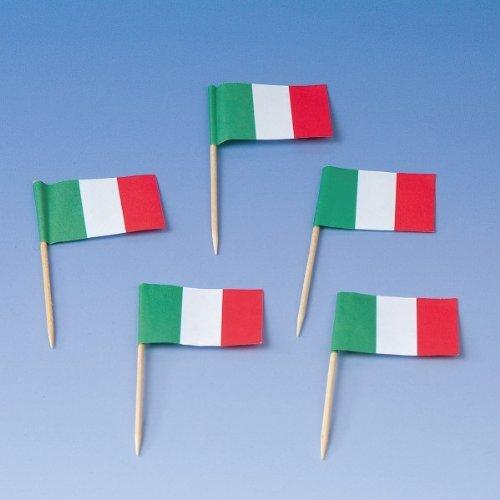 TIB Heyne 200 Flaggenpicker * Italien * // Party italienische Farben Grün Weiss ROT Weltmeisterschaft Fussball Holzpicker Deko WM Italy