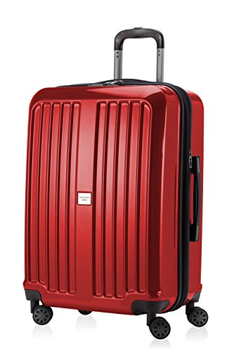 HAUPTSTADTKOFFER - X-Berg - Luggage Suitcase Hardside Spinner Trolley 4 Wheel Expandable TSA, 65 cm, 90 Liter, Red glossy