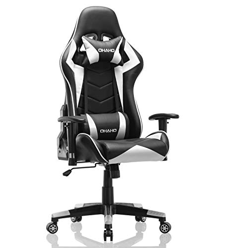 OHAHO Gaming Chair Racing Style Office Chair Adjustable Massage Lumbar Cushion Swivel Rocker Recliner PU Leather High Back Ergonomic Computer Desk Chair with Retractable Armrest (White)
