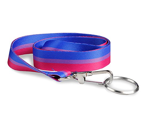 Fundraising For A Cause | Bisexual Flag Lanyard – LGBTQ Gay Pride Badge Holder for Pride Parades and Events (1 Lanyard)
