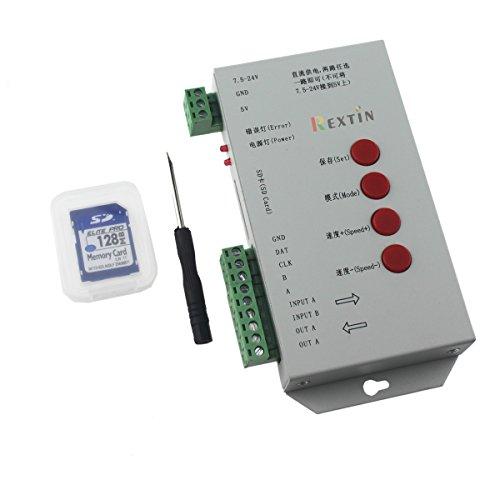 Rextin T1000S LED RGB フルカラープログラマブル ピクセル コントローラ SDカード付 DC5V / DC 7.5 - WS2811 M24V 2801 LPD8806 6803 1903 用 T1000コントローラ