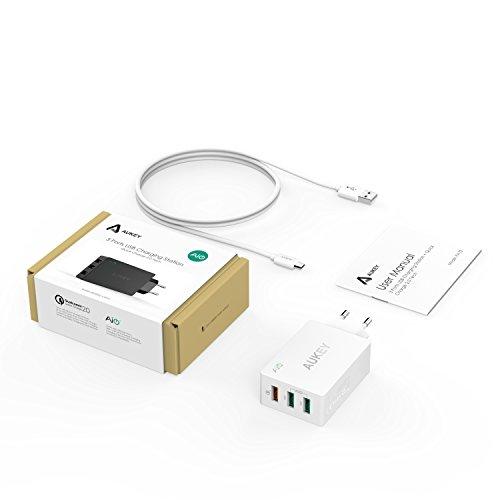 AUKEY Quick Charge 2.0 USB Ladegerät , 3 Anschlüsse 42W für iPad, iPhone 6s / 6s Plus und andere Geräte, mit 1M Ladekabel (Weiß)