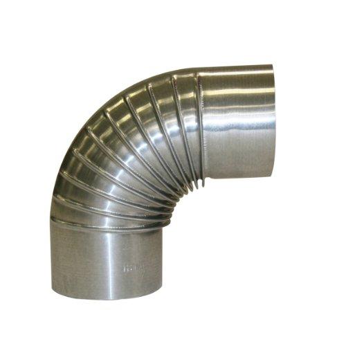 Kamino Flam Bogenknie silber, Winkel von 90°, Abgasrohr aus feueraluminiertem Stahl, rostfreier Rohrbogen, geprüft nach Norm EN 1856-2, Durchmesser: ca. 110 mm