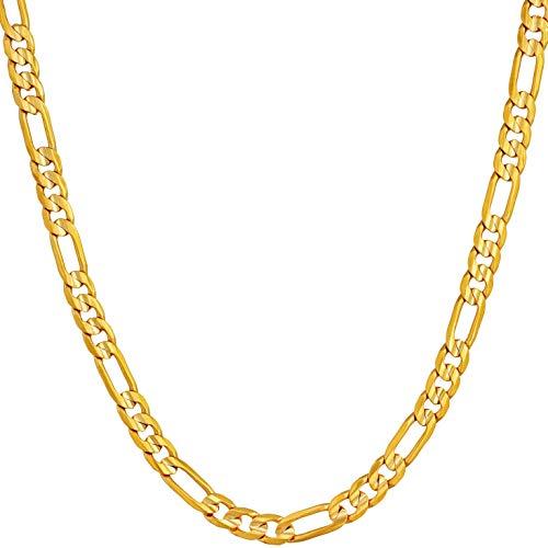 LIFETIME JEWELRY 4 mm Figarokette, 24 Karat vergoldet, für Herren, Damen und Jugendliche, vergoldete Bronze, gold, 10B
