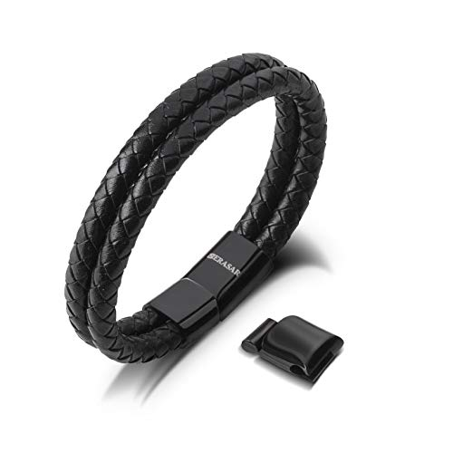 17cm Black Bracelet Men Gift-Box Genuine-Leather Cowhide Braided Adjust-Able Magnetic-Clasp Multi-Layer Wrap Jewellery-Box Rope Man Mans Male Boy Boys Mens Bracelets Band Jewelry Magnet Accessories