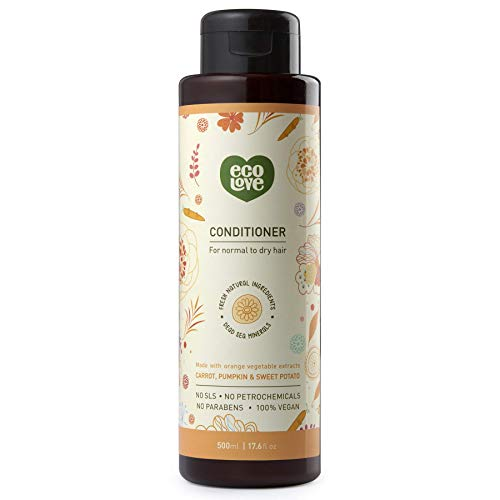 ecoLove Organic Conditioner for Normal to Dry Hair with Carrot Pumpkin and Sweet Potato, Vegan Conditioner for Women and Men, Cruelty Free Natural SLS Free, 17.6 oz