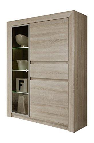 trendteam Wohnzimmer Vitrine Schrank Wohnzimmerschrank Sevilla, 94 x 133 x 38 cm in Eiche Sägerau Hell Dekor mit LED Beleuchtung in Warm Weiß und brünierten Glas