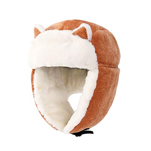 JFF Gorra De Esqu, Lindo Clido Felpa Esponjosa De Nailon con Capucha De Piel Sombrero Espritu Orejas Lobo Oso Gato Disfraz Sombrero Gorros Lindos Orejeras,Naranja