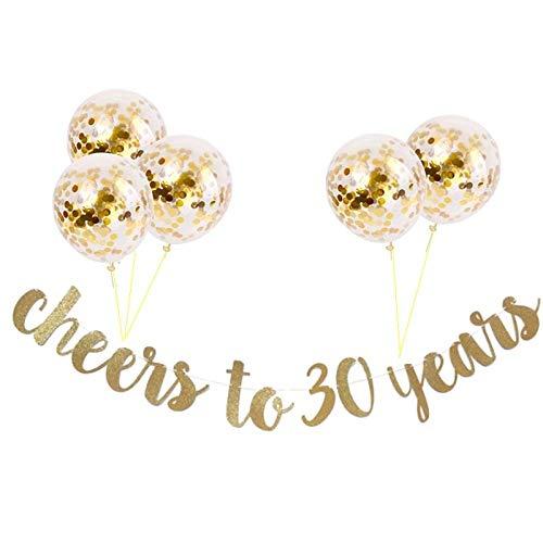 TONGJIANG Aniversario Fiesta de cumpleaños Feliz Globos Decoración 30a 40a 50a años Negro y Partido del Globo de Oro for Adultos (Color : 16inch 30 Rose Gold)