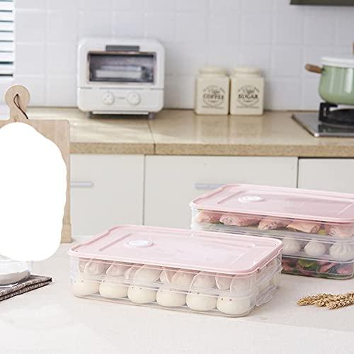 Household r Caja de albóndigas multicapa Bandeja multicapa Contenedor de almacenamiento de alimentos de cocina Recipientes de plástico con tapas, rosa, 2 capas y 1 tapa