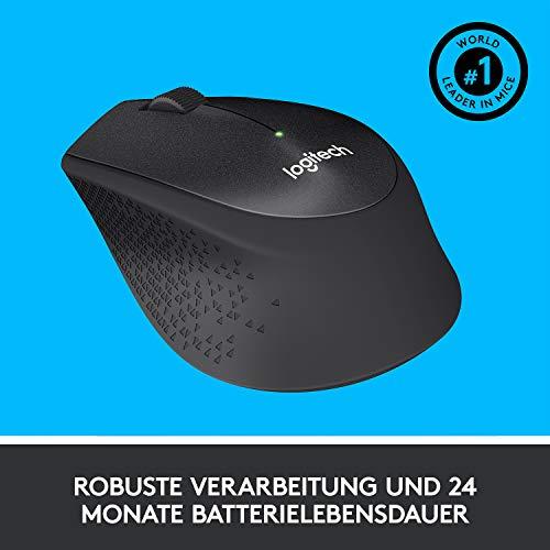 Logitech M330 Silent Plus, Kabellose Maus, 2.4 GHz Verbindung via Nano USB-Empfänger, 1000 DPI Optischer Sensor, 24-Monate Akkulaufzeit, 3 Tasten, PC/Mac – Schwarz - 5