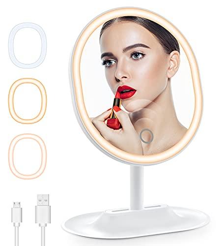 Cocoda Espejo Maquillaje con Luz, 3 Colores 46 LED Plegable Espejo de Maquillaje con Diseño Almacenable, Pantalla Táctil para Ajustar el Modo de Brillo, Rotación de 90° Espejos con Luz con Poder Dual