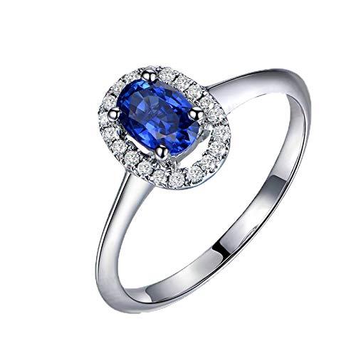 AnazoZ Anillos Mujer Compromiso Plata Azul Anillo de Mujer Oro Blanco 18K Anillo Oval Zafiro Azul 0.67ct Diamante 0.14ct Talla 6,75