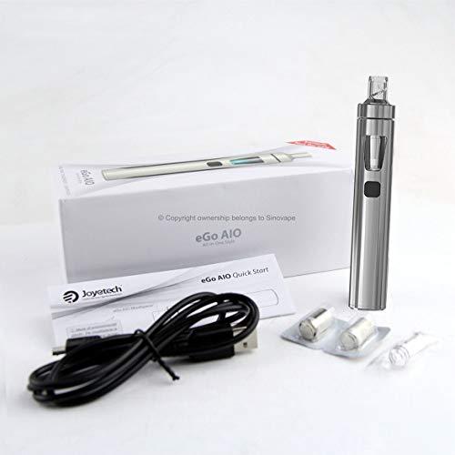 """Autentico Joyetech eGo AIO (All-In-One) E-Cigarette STARTER KIT - Ricaricabile 1500mAh Batteria, 2ml """"Cubis"""" Stile Leak Proof Clearomizer Atomizzatore - Sicurezza Bambini - (Argento)"""