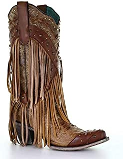 CORRAL Womans Brown Overlay and Studs Fringe Boots A3845