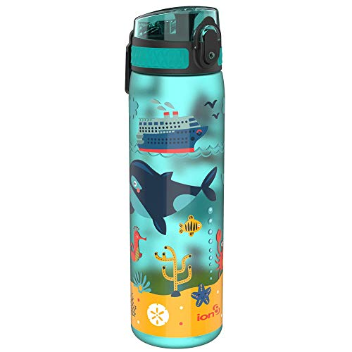 Ion8 Botella Agua Sin Fugas, Sin BPA, 600ml, Vida Marina