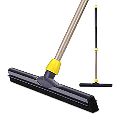 Yocada Floor Squeegee Scrubber 54in Long Adjustable Telescopic Heavy Duty Household Broom Perfect for Garage Courtyard Shower Bathroom Pet Hair Fur Floor Marble Glass Tile Water Foam Cleaning