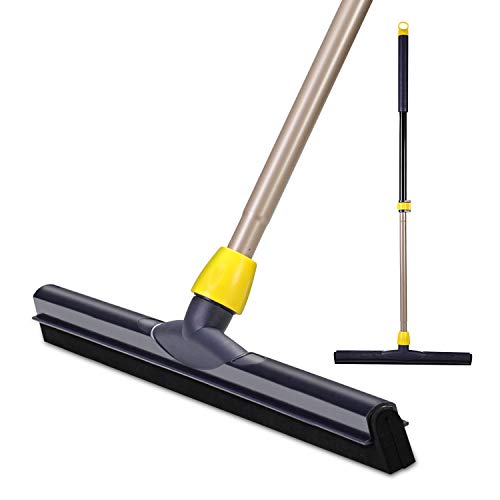 Yocada Floor Squeegee Scrubber 54in Long Adjustable Telescopic Pole Heavy Duty Household Broom Perfect for Garage Courtyard Shower Bathroom Pet Hair Fur Floor Marble Glass Tile Water Foam Cleaning
