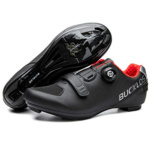 BUCKLOS Road Bike Shoes Compatible with Peloton - Outdoor Indoor Cycling Riding Shoes Men Women Special Sole Breathable Spinning Shoes Suit for Look Delta SPD/SPD SL