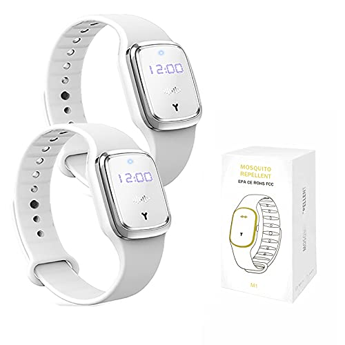 QU.SBEARY Ultrasonic Mosquito Repellent Bracelet Watch with Electronic Clock USB Charging Waterproof Portable Smart Mosquito Anti-Mosquito Bracelet (2 Pack, White)