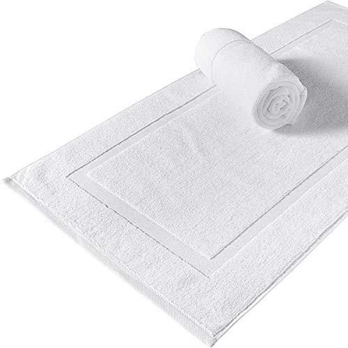 White Spindle Luxury Bath Mat Floor Towel Set - Absorbent Cotton Hotel Spa Shower/Bathtub Mats [Not a Bathroom Rug], Reversible, Large 22'x34' Bath Mats, Soft, Quick Dry Bathmats | 2 Pack - White
