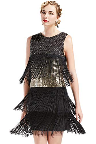 ArtiDeco 1920s Charleston Kleid Damen Knielang Cocotail Party Kleid 20er Jahre Flapper Damen Gatsby Kostüm Kleid (Schwarz Gold, S)