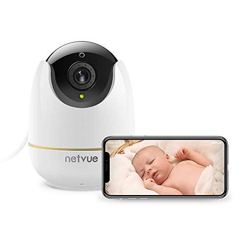 NetVue 1080P Cámara de Vigilancia WiFi Interior Compatible con Alexa Echo Show, Alerta de detección Humana con Completo Debe IR Videovigilancia Security para Baby/Elder/Pet/Nanny Monitor, Blanco