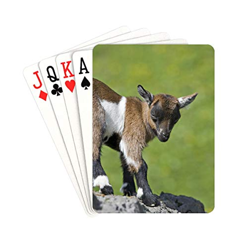 QIAOLII Print Playing Cards Baby Goat Kids On The Grass Customized Playing Cards Unique for Kids & Adults Card Decks Games Standard Size