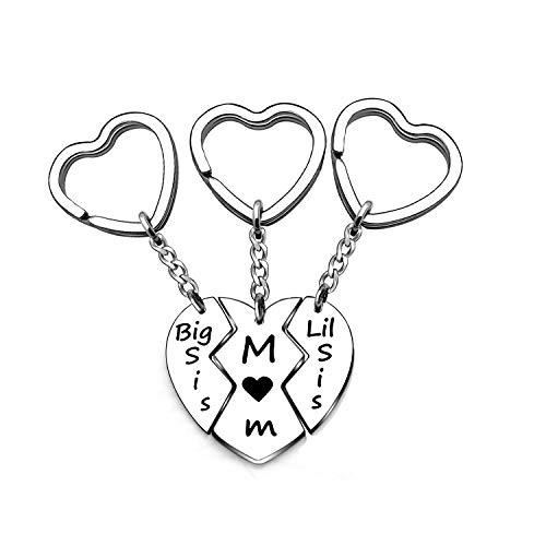 JIYAOANDX 3 PC moeder zusters sleutelhanger ringen set hart puzzel Moeder grote kleine zis sleutelhanger mama dochter familie sleutelhangers gegraveerd