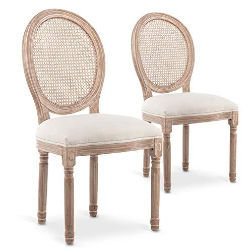 INTENSEDECO Lot de 2 chaises médaillon Louis XVI Cannage Rotin Tissu Beige