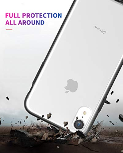 Kit Me Out World Clear Hybrid Series Case Designed for iPhone XR Case, Transparent Hard (PC) Back and Black TPU Bumper Protection Shockproof Case Cover (Ultra Clear)