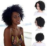 FFWIGS WAWIG Negro Mullido Corto Kinky Curly Peluca Sintético Afro Completo Pelucas por Negro Mujer Calor Resistente Cabello por Africano Mujer 10' 180G