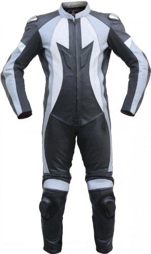 Einteiler Motorradkombi Motorrad Lederkombi aus Rindsleder echtleder Kombi Schwarz/Grau, Größe:58
