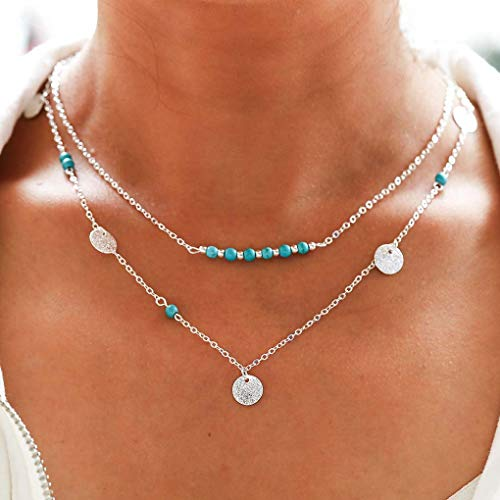 Aetorgc Boho Layered Necklace Chain Turquoise Pendant Necklaces Sequin and Beads Necklace Jewelry for Women and Girls (Silver)