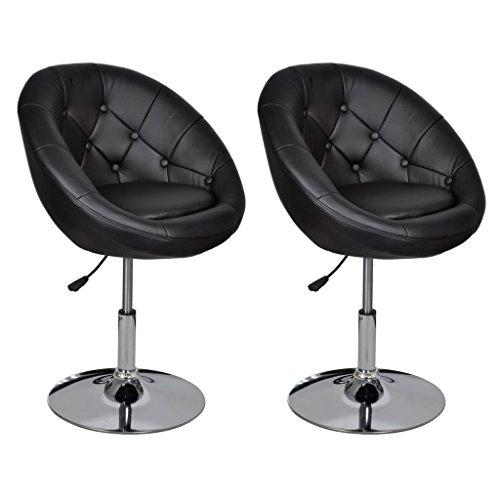 vidaXL 2X Chaise de Club Cuir Synthétique Noir Tabourets de Salon Maison