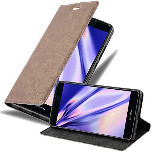 Cadorabo Hülle für Huawei P9 Plus - Hülle in Kaffee BRAUN – Handyhülle mit Magnetverschluss, Standfunktion & Kartenfach - Case Cover Schutzhülle Etui Tasche Book Klapp Style