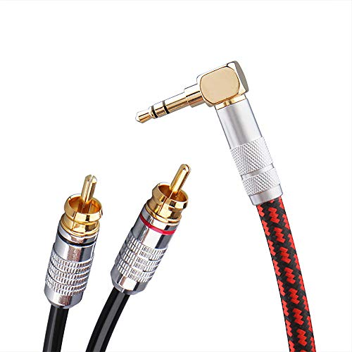 Primeda Audiophile Audio Cable Stereo 3.5mm Male to 2 RCA Male Red for Smartphone, MP3,CD, Tablets, Speakers,Home Theater,HDTV (Right Angle 3.5mm (3 Feet))
