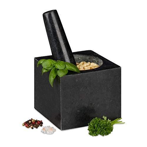 Relaxdays Granit Mörser mit Stößel, eckig, langlebig, Gewürze, Kräuter, 9,5x11x11cm, 250 ml, polierter Steinmörser, grau