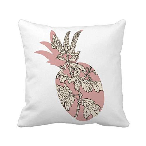Funda cuadrada de almohada de crisantemo con diseño de piña, color negro y blanco