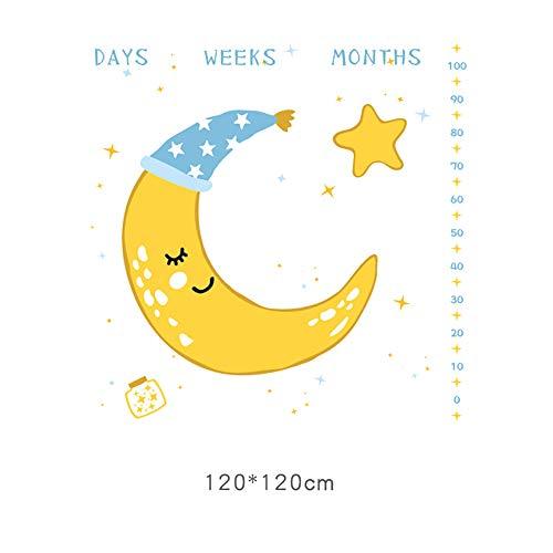 FZ FUTURE Nouveau née Couverture de Props de Photographie, Baby Props imprimé Coton Mensuel Milestone Wrap Swaddle Couvertures, Cadeau de Shower de bébé, Baby Growth Photography Background Prop,Moon