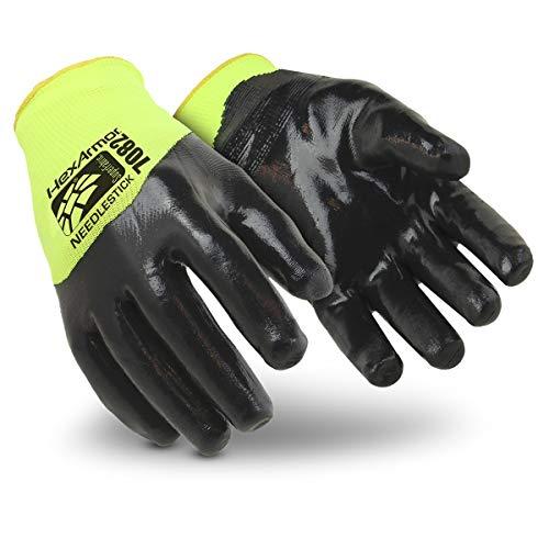 HexArmor SharpsMaster HV 7082 Nitrile Coated Safety Work Gloves with Needle Resistance, Medium