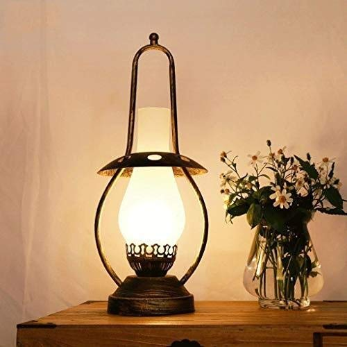 Lampada da Tavolo Ricaricabile a Led Lampada da tavolo E27 nostalgico vetro Banco Lights creativo Living Room Bar ufficio decorazione in metallo Apparecchi di illuminazione Lampada da Tavolo Vintage