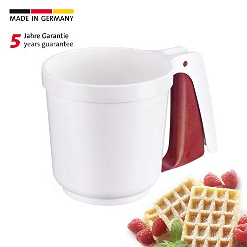 Westmark Mehl- und Puderzuckersieb mit Griff, Für 250 Gramm Mehl/Puderzucker, Kunststoff, Weiß/Rot, 32142270