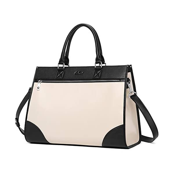CLUCI Womens Briefcase Oil Wax Leather 15.6 Inch Laptop Business Vintage Ladies Large Capacity Shoulder Bag 1