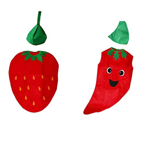 2 Juego Unisex Traje de Disfraz de Vegetales de Frutas con Sombrero para Infantil Apoyos de Fotografa