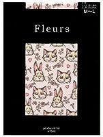 Fleurs(フルール) プリントタイツ ネコとウサギ柄 日本製 80デニール・50デニール展開 (ピンク, 50デニール M~L)
