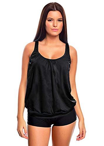 Raffinierte Bademode im Oversize Look Tankini Styles Gr. 36-62 f5515 Farbe: G(sw)-HP1(sw) Tankini Schwarz, Hotpants, Gr. 46