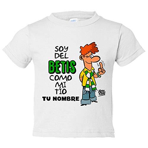 Camiseta bebé frase soy del betis como mi tio personalizable con nombre ilustrado por Jorge Crespo Cano - Blanco, 2 años