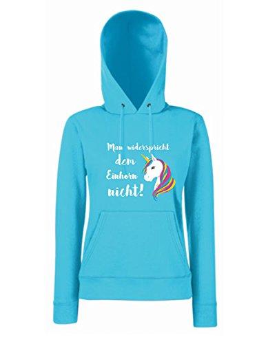 Shirt-Panda Einhorn Damen Mädchen Hoodie Man widerspricht dem Einhorn Nicht mit Unicorn Motiv Spruch Fun Cool Ladyfit Azure Blue XL